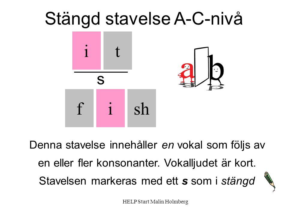 Stängd stavelse A-C-nivå it fshi Denna stavelse innehåller en vokal som följs av en eller fler konsonanter.