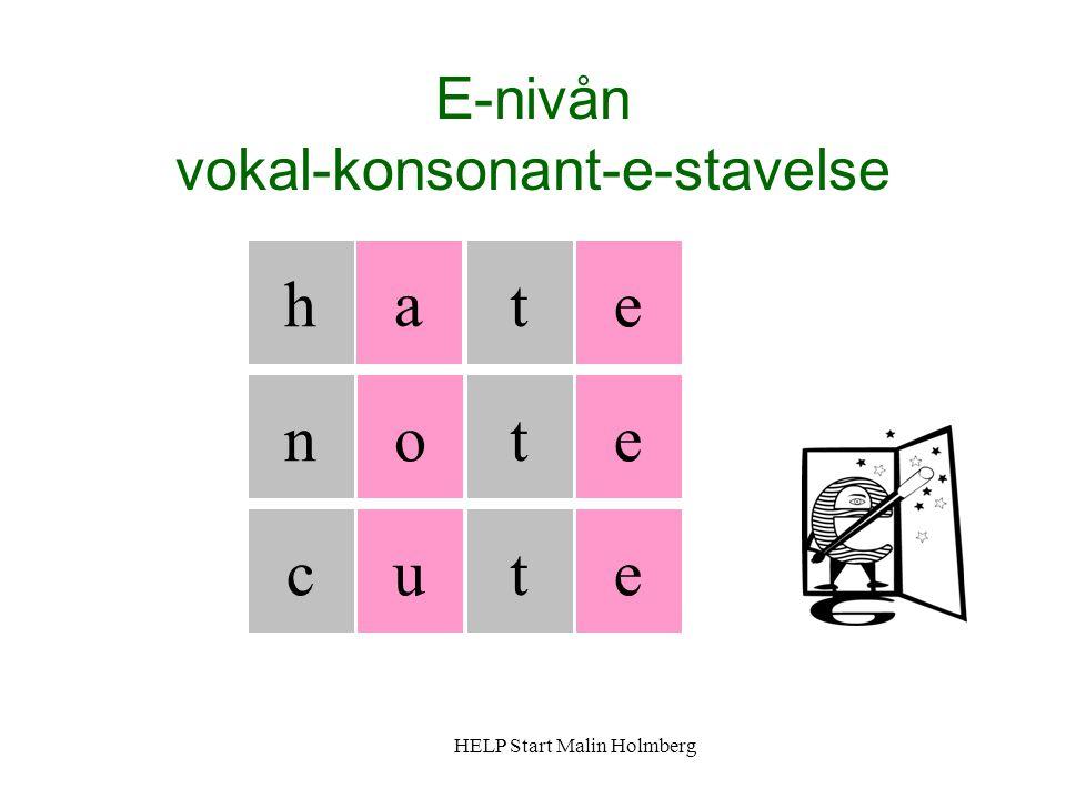 E-nivån vokal-konsonant-e-stavelse h a t t tuc on e e e HELP Start Malin Holmberg