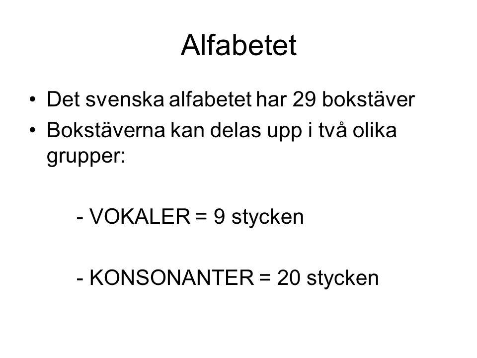 VOKALER Dessa 9 bokstäver kallas för vokaler AOUÅEIYÄÖ AOUÅ Kallas för hårda vokaler EIYÄÖ Kallas för mjuka vokaler