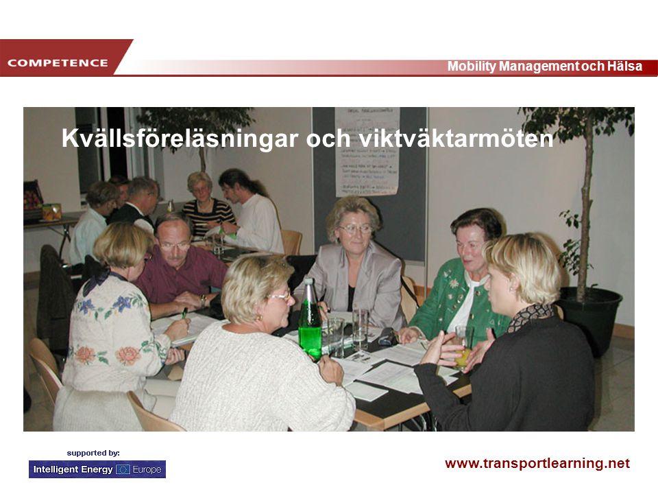 www.transportlearning.net Mobility Management och Hälsa Kvällsföreläsningar och viktväktarmöten