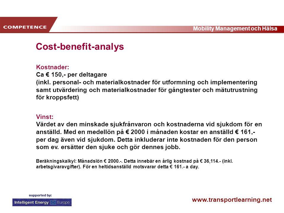 www.transportlearning.net Mobility Management och Hälsa Kostnader: Ca € 150,- per deltagare (inkl.