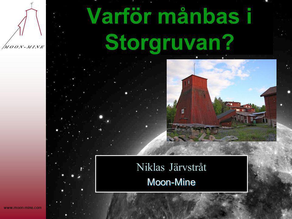 www.moon-mine.com Varför månbas i Storgruvan? Moon-Mine Niklas Järvstråt Moon-Mine