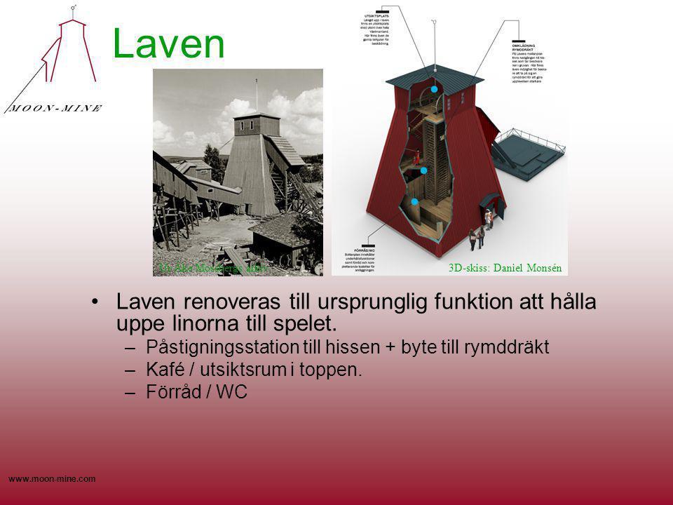 www.moon-mine.com Laven Laven renoveras till ursprunglig funktion att hålla uppe linorna till spelet. –Påstigningsstation till hissen + byte till rymd