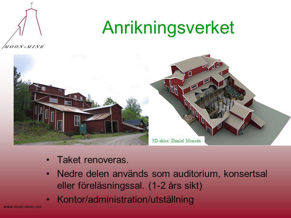 www.moon-mine.com Anrikningsverket Taket renoveras. Nedre delen används som auditorium, konsertsal eller föreläsningssal. (1-2 års sikt) Kontor/admini