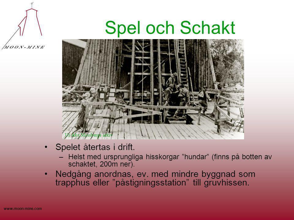"""www.moon-mine.com Spel och Schakt Spelet återtas i drift. –Helst med ursprungliga hisskorgar """"hundar"""" (finns på botten av schaktet, 200m ner). Nedgång"""