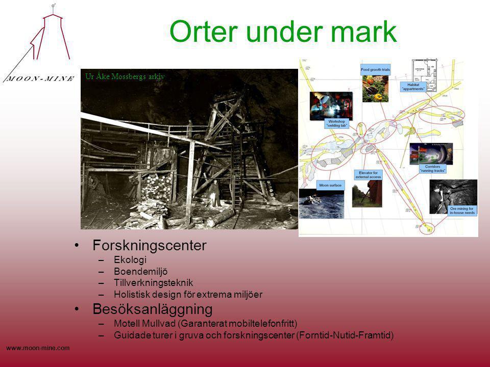 www.moon-mine.com Orter under mark Forskningscenter –Ekologi –Boendemiljö –Tillverkningsteknik –Holistisk design för extrema miljöer Besöksanläggning