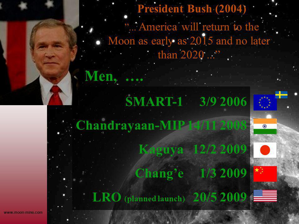 "www.moon-mine.com President Bush (2004) ""... America will return to the Moon as early as 2015 and no later than 2020..."" Men, …. SMART-1 3/9 2006 Chan"