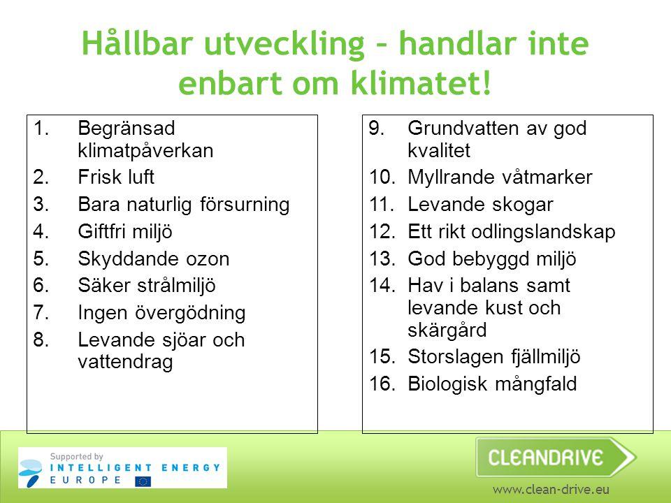 www.clean-drive.eu Hållbar utveckling – handlar inte enbart om klimatet! 1.Begränsad klimatpåverkan 2.Frisk luft 3.Bara naturlig försurning 4.Giftfri
