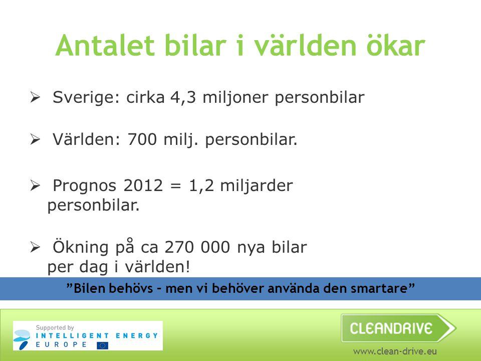 www.clean-drive.eu Antalet bilar i världen ökar  Sverige: cirka 4,3 miljoner personbilar  Världen: 700 milj. personbilar.  Prognos 2012 = 1,2 milja