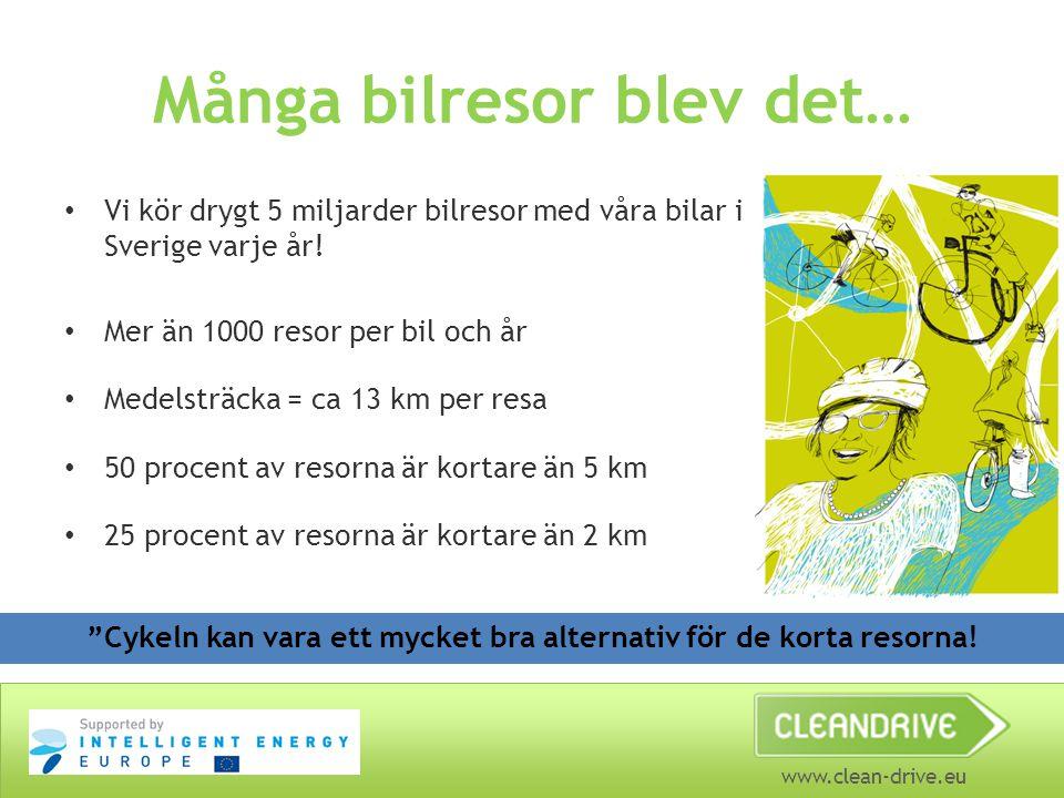 www.clean-drive.eu Många bilresor blev det… Vi kör drygt 5 miljarder bilresor med våra bilar i Sverige varje år! Mer än 1000 resor per bil och år Mede