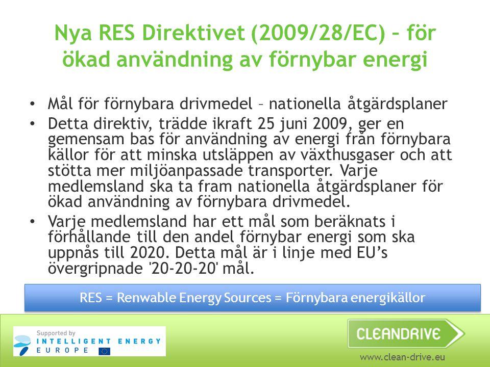 www.clean-drive.eu Nya RES Direktivet (2009/28/EC) – för ökad användning av förnybar energi Mål för förnybara drivmedel – nationella åtgärdsplaner Det