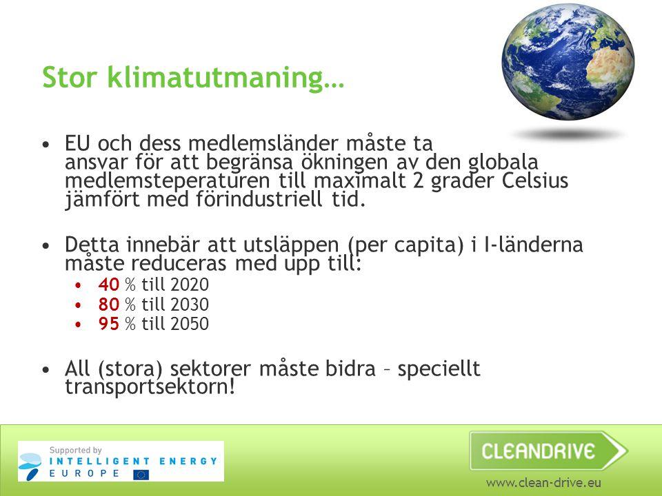 www.clean-drive.eu Stor klimatutmaning… EU och dess medlemsländer måste ta ansvar för att begränsa ökningen av den globala medlemsteperaturen till max