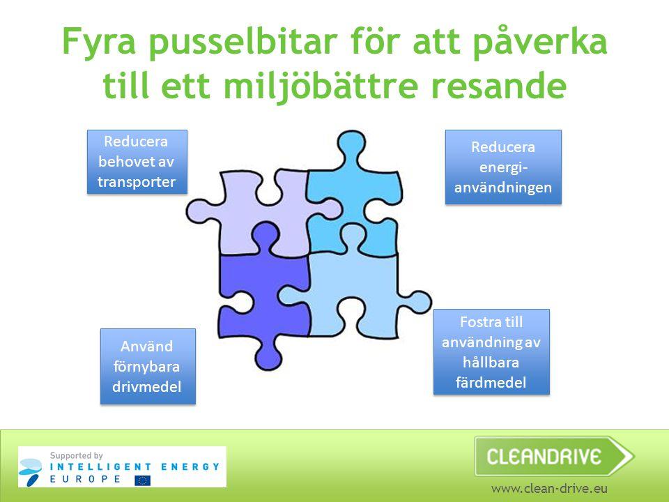 www.clean-drive.eu Fyra pusselbitar för att påverka till ett miljöbättre resande Reducera behovet av transporter Reducera energi- användningen Fostra