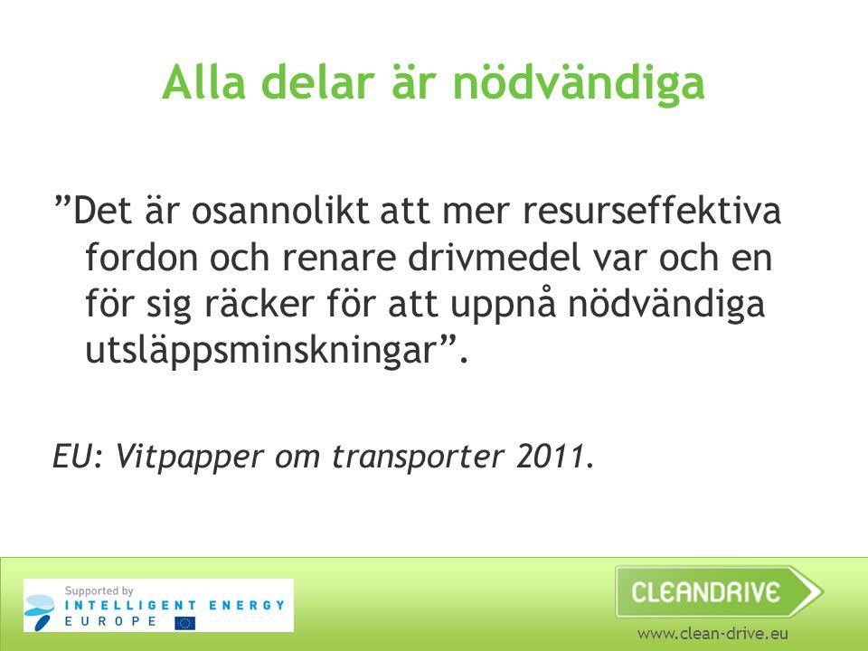 """www.clean-drive.eu Alla delar är nödvändiga """"Det är osannolikt att mer resurseffektiva fordon och renare drivmedel var och en för sig räcker för att u"""