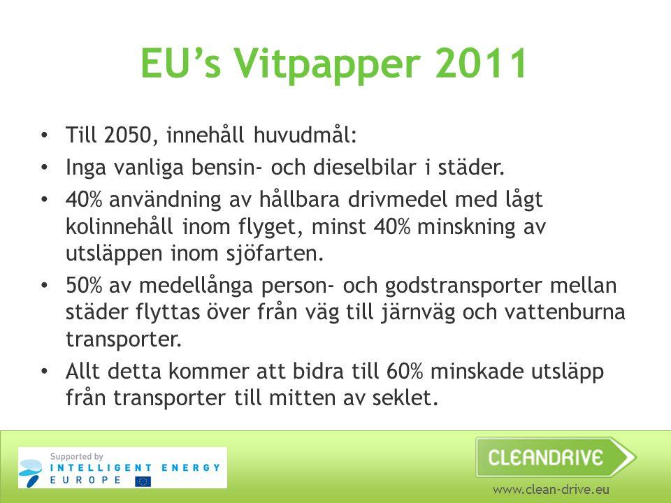 www.clean-drive.eu EU's Vitpapper 2011 Till 2050, innehåll huvudmål: Inga vanliga bensin- och dieselbilar i städer. 40% användning av hållbara drivmed
