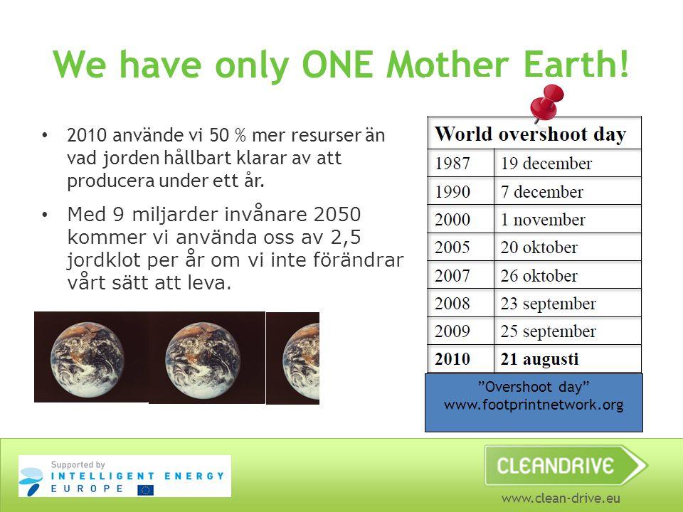 www.clean-drive.eu We have only ONE Mother Earth! 2010 använde vi 50 % mer resurser än vad jorden hållbart klarar av att producera under ett år. Med 9