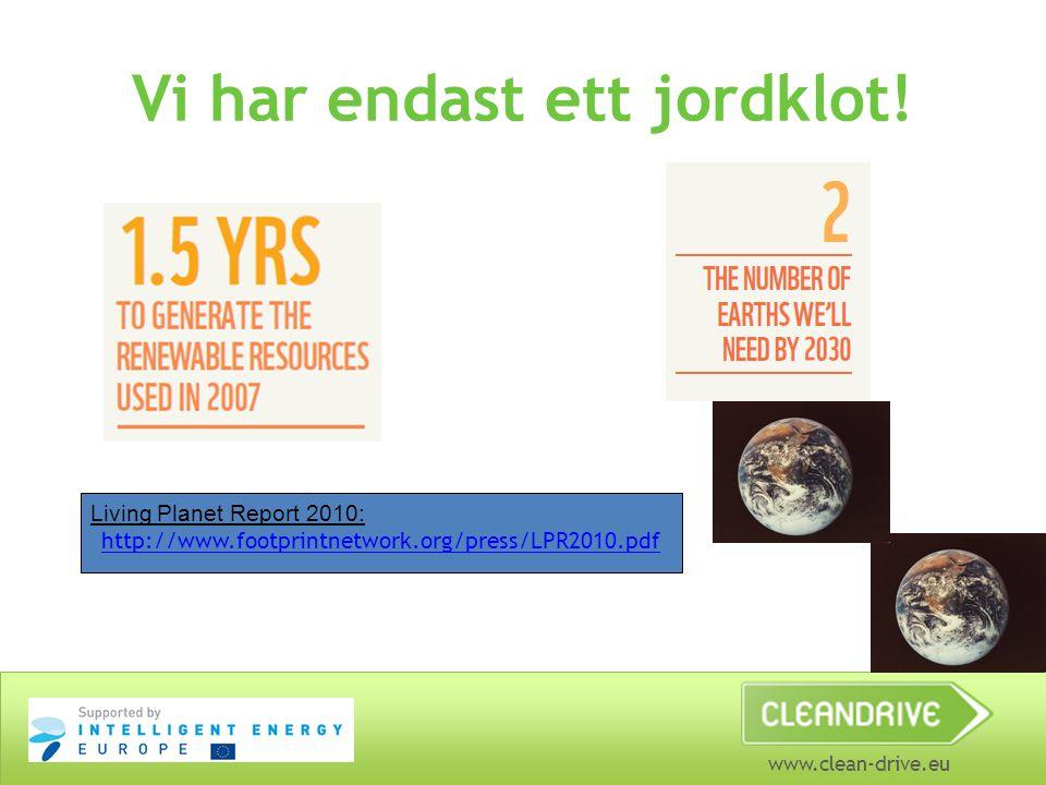 www.clean-drive.eu Vi har endast ett jordklot! Living Planet Report 2010: http://www.footprintnetwork.org/press/LPR2010.pdf