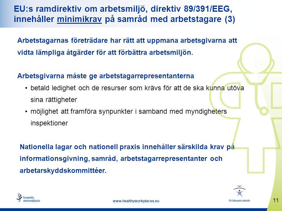 11 www.healthyworkplaces.eu EU:s ramdirektiv om arbetsmiljö, direktiv 89/391/EEG, innehåller minimikrav på samråd med arbetstagare (3) Arbetstagarnas