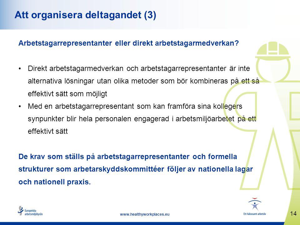 14 www.healthyworkplaces.eu Att organisera deltagandet (3) Arbetstagarrepresentanter eller direkt arbetstagarmedverkan? Direkt arbetstagarmedverkan oc