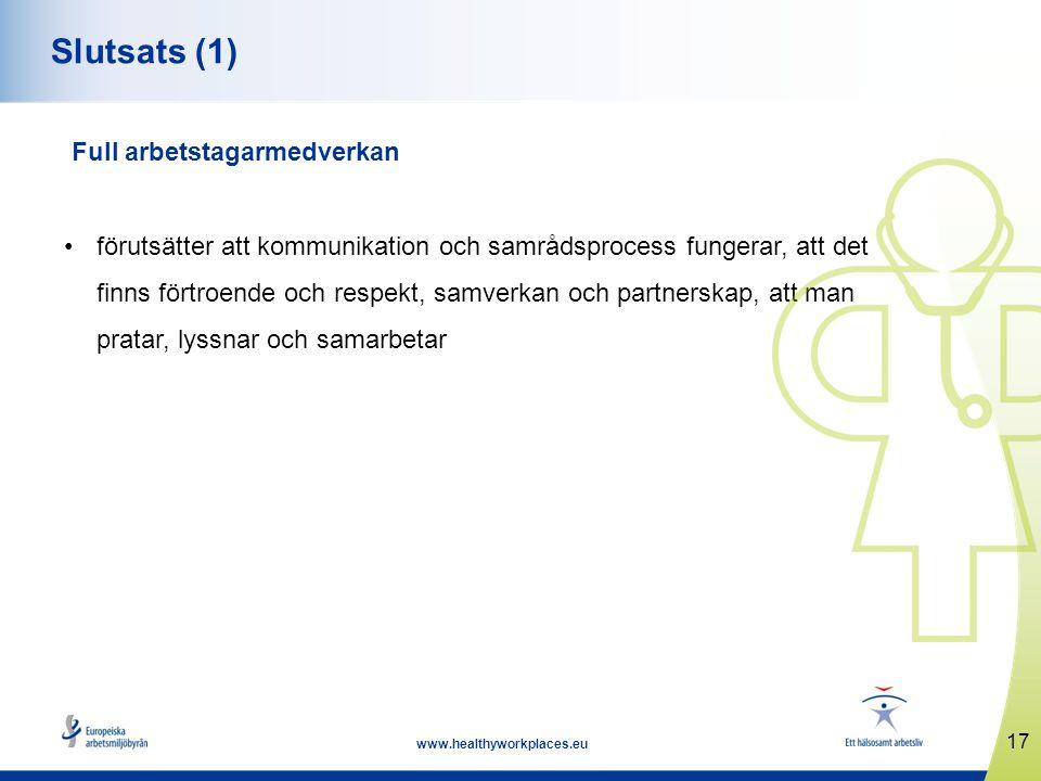 17 www.healthyworkplaces.eu Slutsats (1) Full arbetstagarmedverkan förutsätter att kommunikation och samrådsprocess fungerar, att det finns förtroende