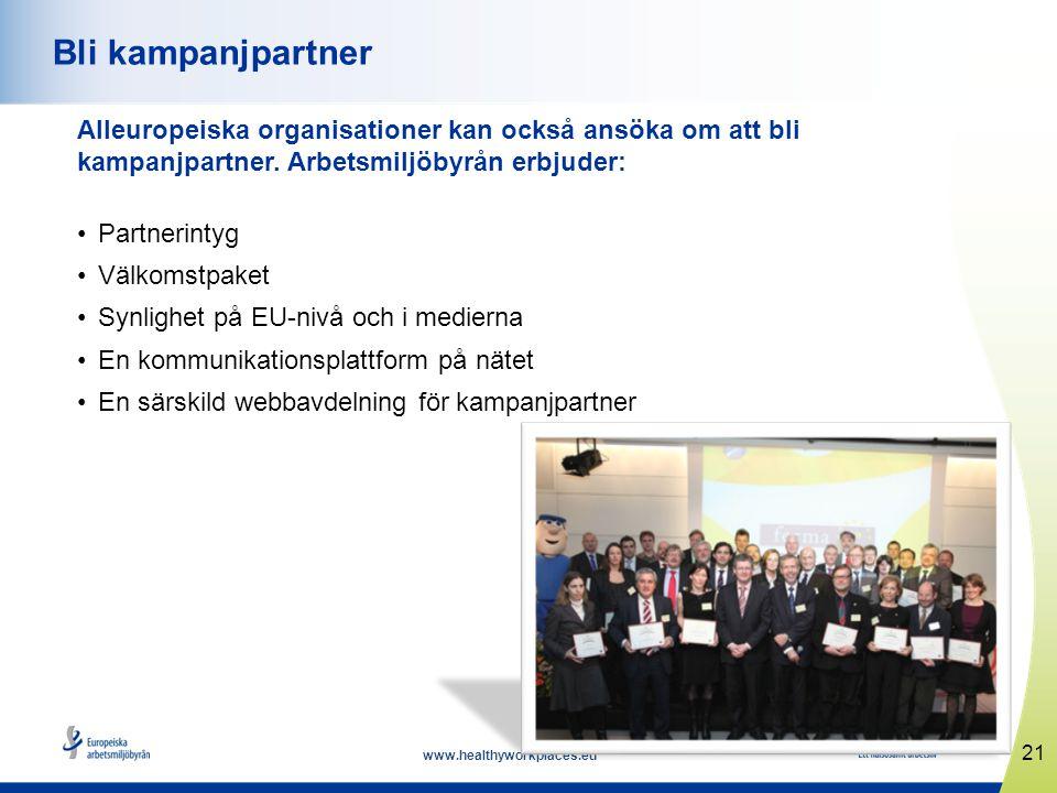 www.healthyworkplaces.eu Alleuropeiska organisationer kan också ansöka om att bli kampanjpartner. Arbetsmiljöbyrån erbjuder: Partnerintyg Välkomstpake