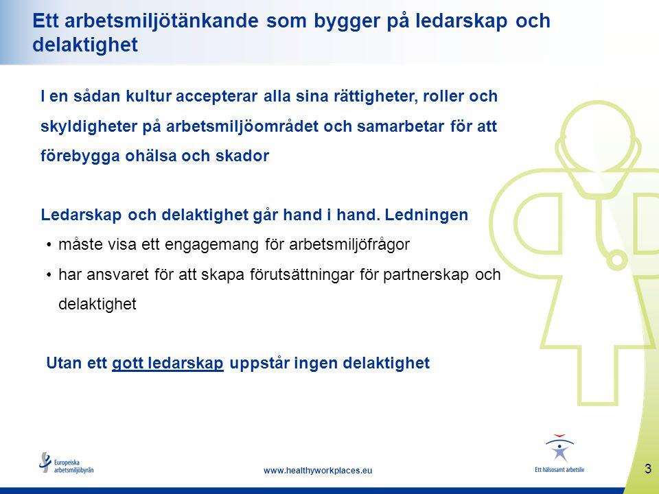 3 www.healthyworkplaces.eu Ett arbetsmiljötänkande som bygger på ledarskap och delaktighet I en sådan kultur accepterar alla sina rättigheter, roller