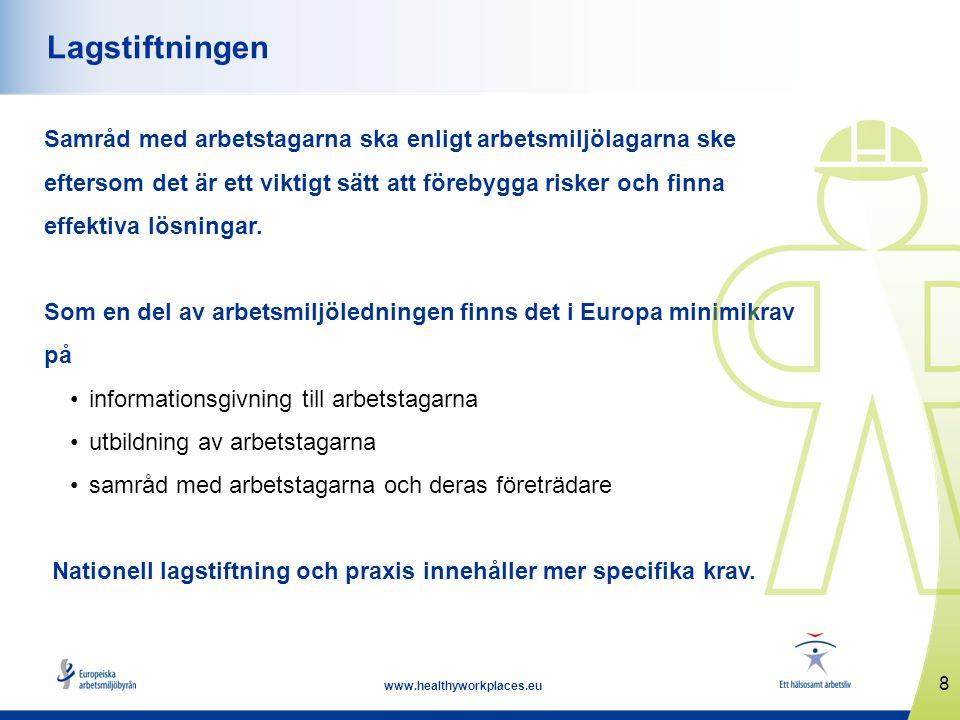 8 www.healthyworkplaces.eu Lagstiftningen Samråd med arbetstagarna ska enligt arbetsmiljölagarna ske eftersom det är ett viktigt sätt att förebygga ri