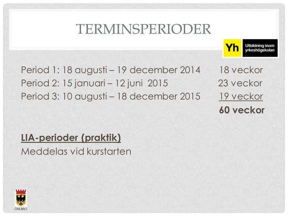 TERMINSPERIODER Period 1: 18 augusti – 19 december 201418 veckor Period 2: 15 januari – 12 juni 2015 23 veckor Period 3: 10 augusti – 18 december 2015
