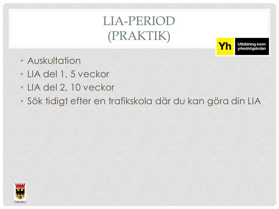LIA-PERIOD (PRAKTIK) Auskultation LIA del 1, 5 veckor LIA del 2, 10 veckor Sök tidigt efter en trafikskola där du kan göra din LIA