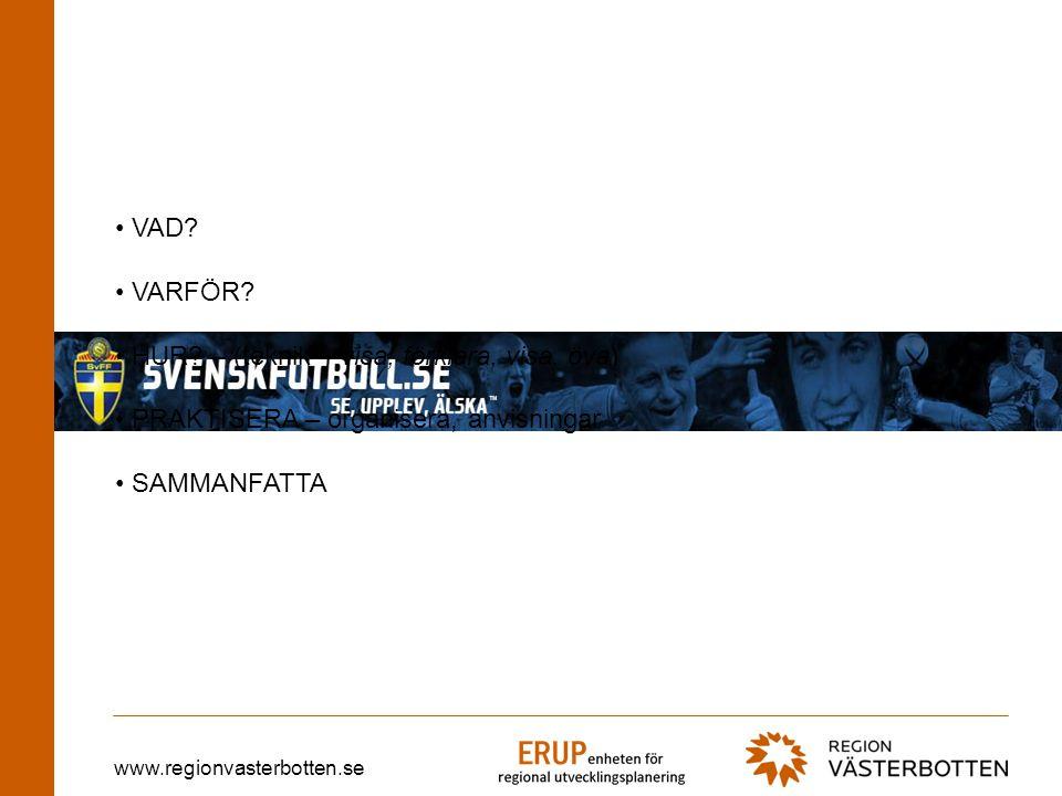 www.regionvasterbotten.se VAD. VARFÖR. HUR.