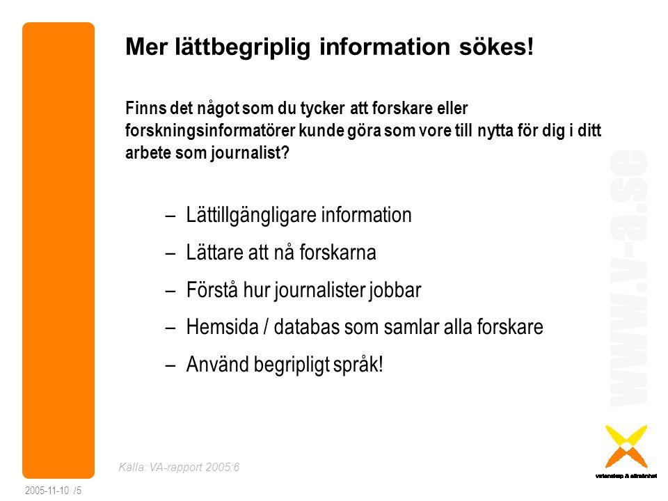 www.v-a.se 2005-11-10 /6 Slutsatser Journalister … … har högt förtroende för forskare … vill att forskare ska vara lätta att nå … vill att forskare pratar så att man förstår … vill lätt hitta information  Journalister och forskare behöver förstå varandras arbetssätt och villkor bättre