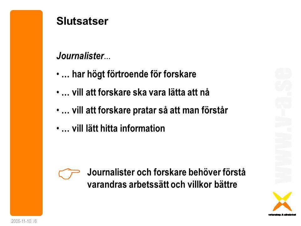 www.v-a.se 2005-11-10 /6 Slutsatser Journalister … … har högt förtroende för forskare … vill att forskare ska vara lätta att nå … vill att forskare pr