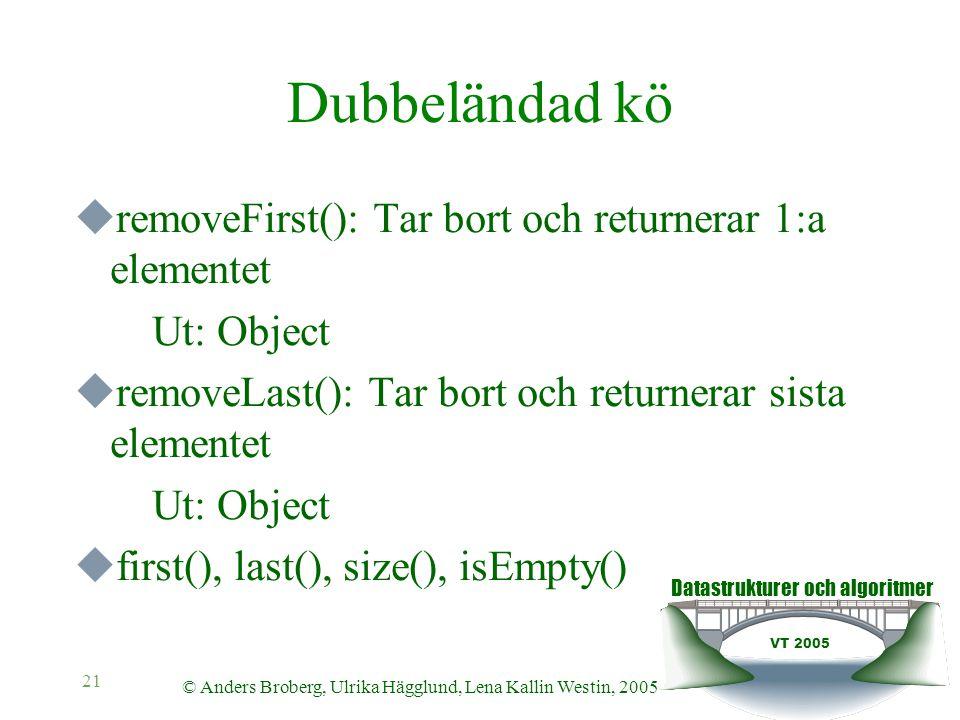 Datastrukturer och algoritmer VT 2005 © Anders Broberg, Ulrika Hägglund, Lena Kallin Westin, 2005 21 Dubbeländad kö  removeFirst(): Tar bort och returnerar 1:a elementet Ut: Object  removeLast(): Tar bort och returnerar sista elementet Ut: Object  first(), last(), size(), isEmpty()
