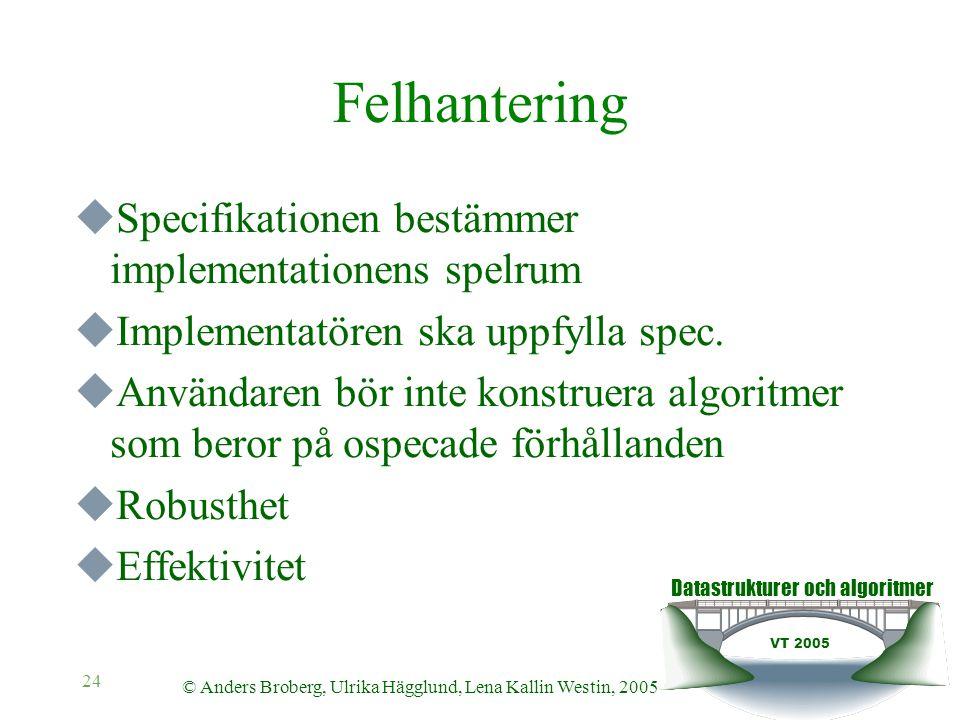 Datastrukturer och algoritmer VT 2005 © Anders Broberg, Ulrika Hägglund, Lena Kallin Westin, 2005 24 Felhantering  Specifikationen bestämmer implementationens spelrum  Implementatören ska uppfylla spec.