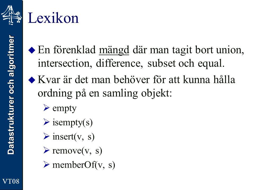 Datastrukturer och algoritmer VT08 Lexikon  En förenklad mängd där man tagit bort union, intersection, difference, subset och equal.  Kvar är det ma
