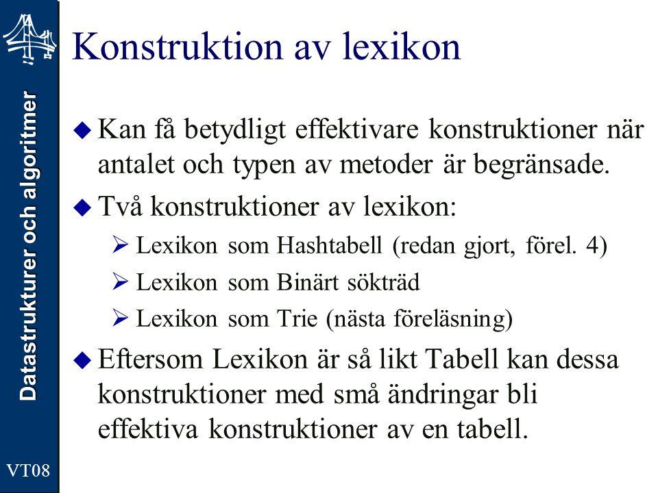Datastrukturer och algoritmer VT08 Konstruktion av lexikon  Kan få betydligt effektivare konstruktioner när antalet och typen av metoder är begränsad