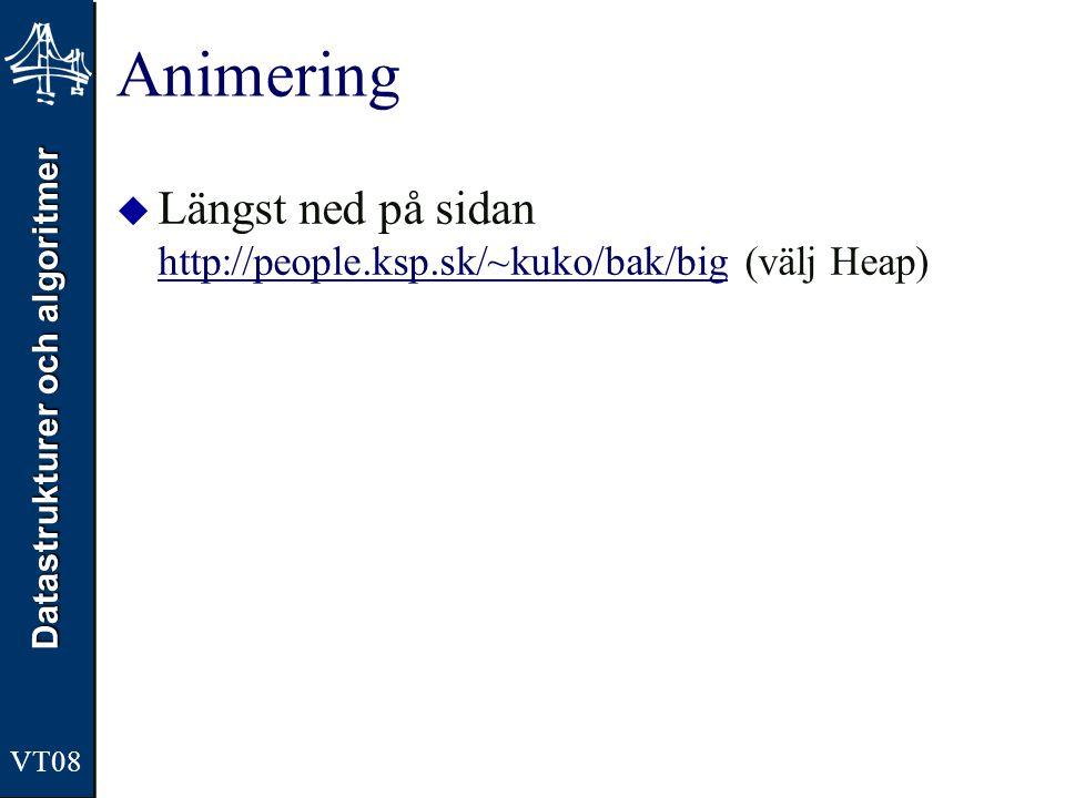 Datastrukturer och algoritmer VT08 Animering  Längst ned på sidan http://people.ksp.sk/~kuko/bak/big (välj Heap) http://people.ksp.sk/~kuko/bak/big