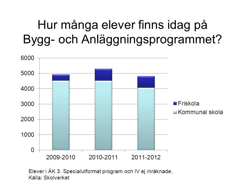 Hur många elever finns idag på Bygg- och Anläggningsprogrammet? Elever i ÅK 3. Specialutformat program och IV ej inräknade. Källa: Skolverket