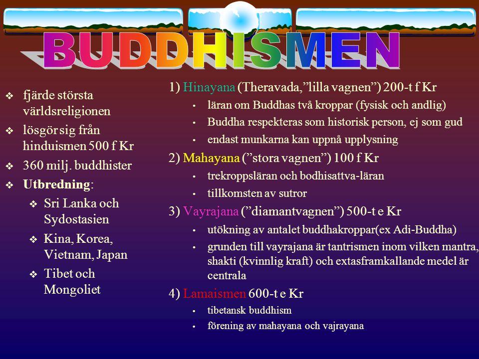 Centrala begreppbegrepp 1) Buddhas lära 2) församlingen 3) tempelliknande byggnad där reliker av Buddha bevaras (kultplats) 4) helighet som kan uppnås och återfödelsen upphör 5) tillvarons beståndsdelar som ständigt förändras (kroppen, varseblivningarna, känslorna, anlag och drifter och medvetandet) 6) skrifter inom Mahayana 7) dyrkan av Buddha 8) upplysningsvarelse ; tanken att en helig man eller kvinna som nått upplysning väljer att leva som människa på jorden för att hjälpa andra 9) Tibetanernas ledare i exil 10) äldsta buddhistiska texten 11) symbol för buddhismen, bloimman har sina rötter i dyn men blommar i skyn; Jfr Buddhas lära och upplysningen 12) Tillvarons utslocknande