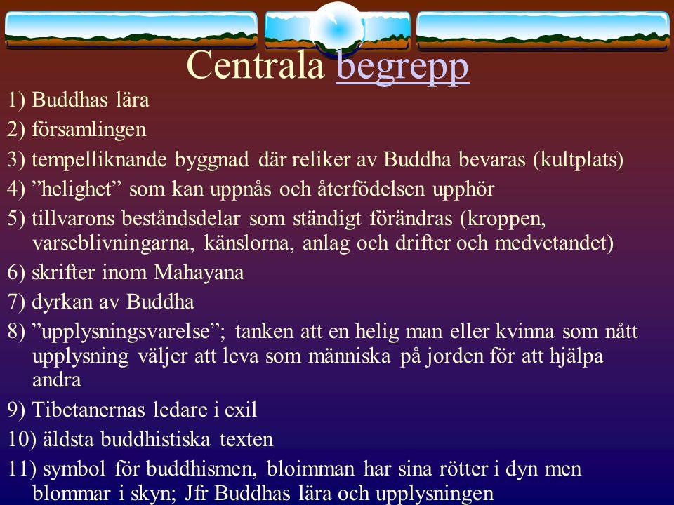 """Centrala begreppbegrepp 1) Buddhas lära 2) församlingen 3) tempelliknande byggnad där reliker av Buddha bevaras (kultplats) 4) """"helighet"""" som kan uppn"""