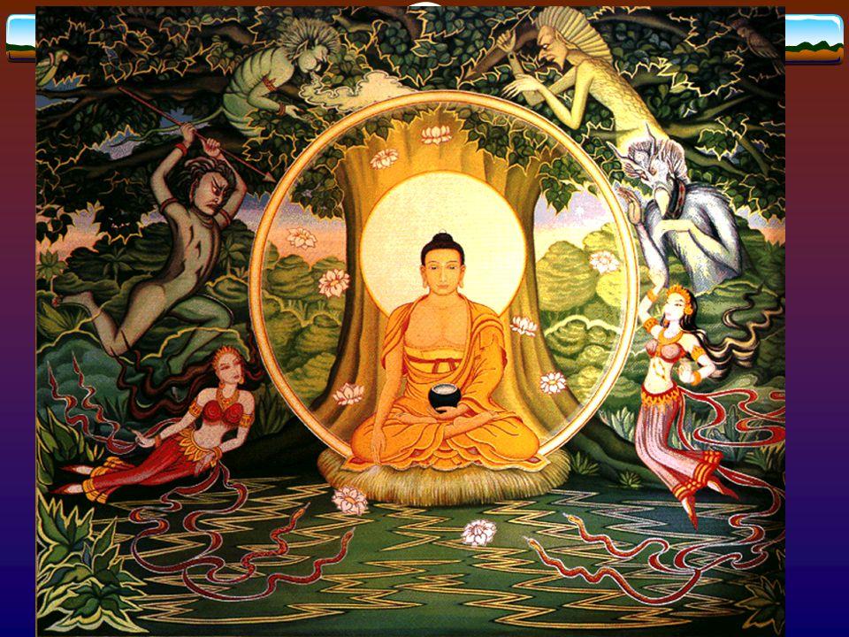 4 ädla sanningarnasanningarna 1) Allt liv är lidande (dukkha) 2) Lidandet beror på livstörsten 3) Lidandet upphör när livstörsten släcks 4) Livstörsten släcks på den 8-faldiga medelvägen * rätt åskådning, rätt beslut, rätt gärning, rätt strävan, rätt tänkande, rätt meditation, rätt benämning, rätt liv