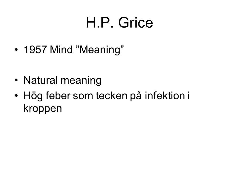 """H.P. Grice 1957 Mind """"Meaning"""" Natural meaning Hög feber som tecken på infektion i kroppen"""