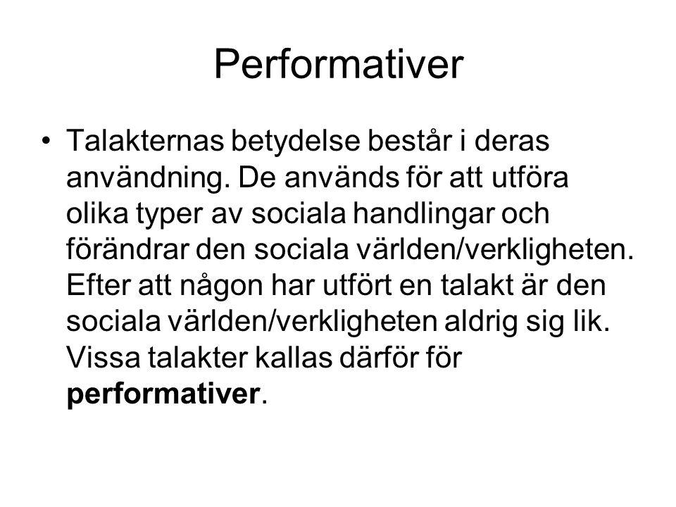 Performativer Talakternas betydelse består i deras användning. De används för att utföra olika typer av sociala handlingar och förändrar den sociala v