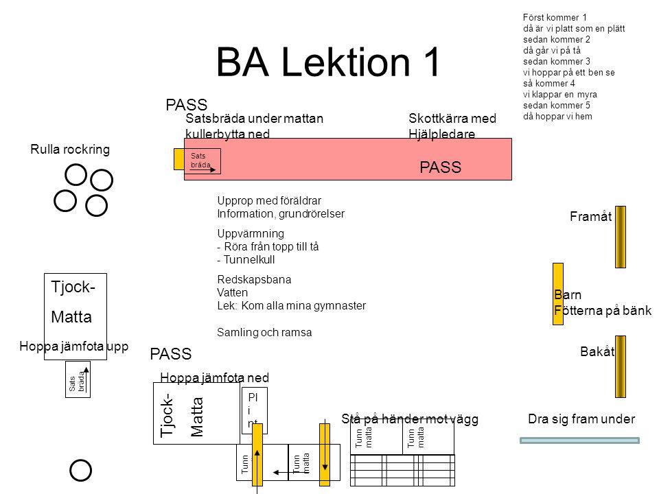 BA Lektion 1 Tjock- Matta Pl i nt Tjock- Matta PASS Tunn matta Sats bräda Upprop med föräldrar Information, grundrörelser Uppvärmning - Röra från topp
