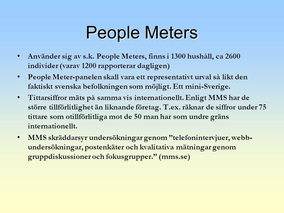 People Meters Använder sig av s.k. People Meters, finns i 1300 hushåll, ca 2600 individer (varav 1200 rapporterar dagligen) People Meter-panelen skall