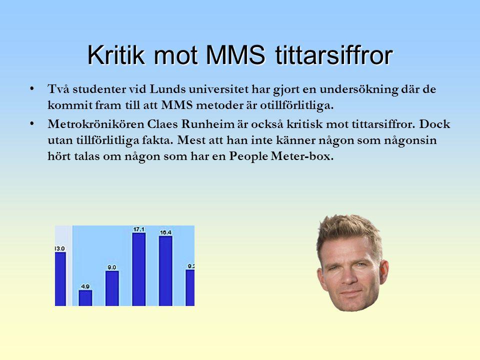 Kritik mot MMS tittarsiffror Två studenter vid Lunds universitet har gjort en undersökning där de kommit fram till att MMS metoder är otillförlitliga.