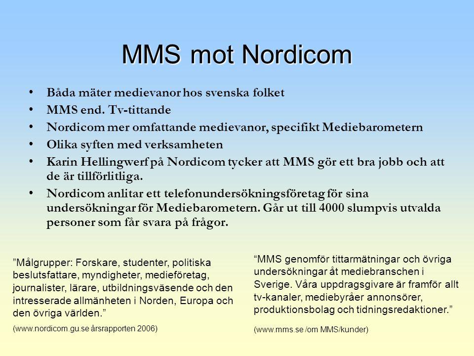 MMS mot Nordicom Båda mäter medievanor hos svenska folket MMS end. Tv-tittande Nordicom mer omfattande medievanor, specifikt Mediebarometern Olika syf