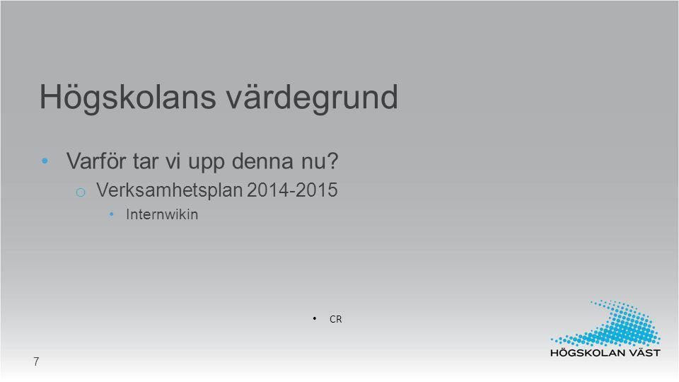 Varför tar vi upp denna nu? o Verksamhetsplan 2014-2015 Internwikin CR Högskolans värdegrund 7
