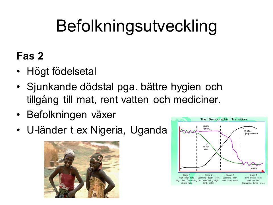 Befolkningsutveckling Fas 2 Högt födelsetal Sjunkande dödstal pga. bättre hygien och tillgång till mat, rent vatten och mediciner. Befolkningen växer
