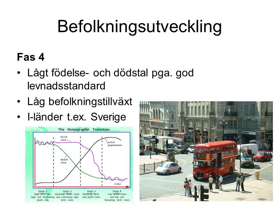 Befolkningsutveckling Fas 4 Lågt födelse- och dödstal pga. god levnadsstandard Låg befolkningstillväxt I-länder t.ex. Sverige